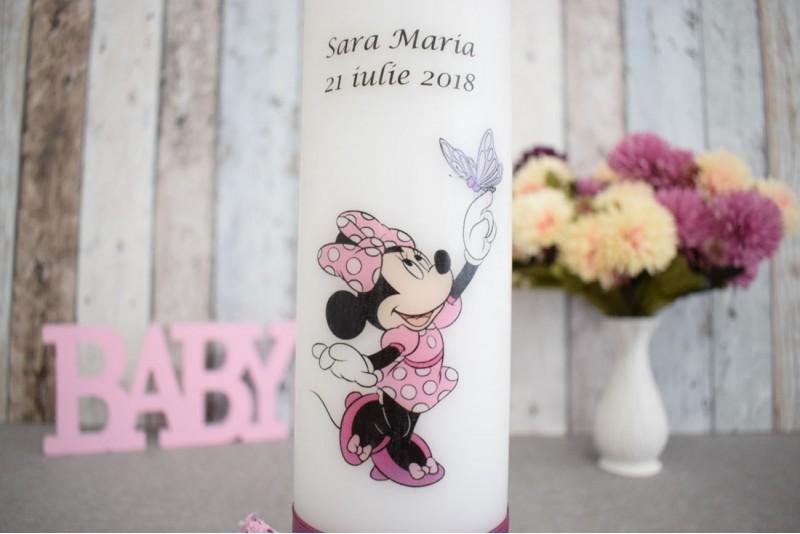 Lumanare de botez cu Minnie Mouse cu rochita roz