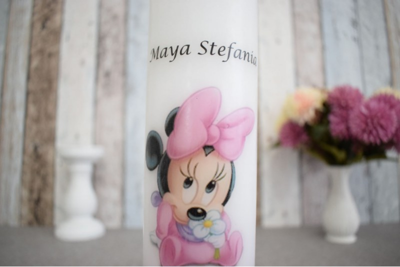 Lumanare de botez cu bebe Minnie Mouse