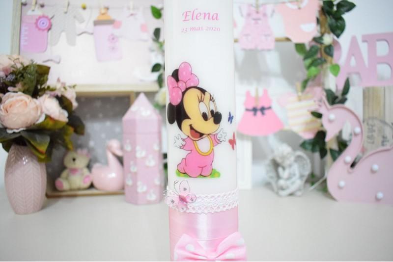 Lumanare botez personalizata Minnie  Mouse cu Fluturas