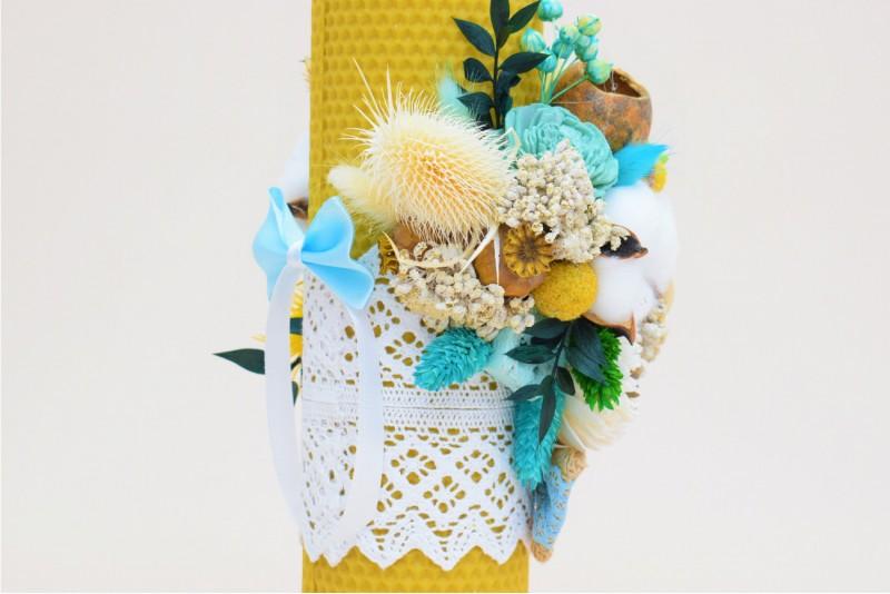 Lumanare Botez Ceara Naturala Decorata cu Flori