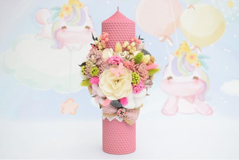 Lumanare Botez Ceara Naturala Roz Decorata cu Flori