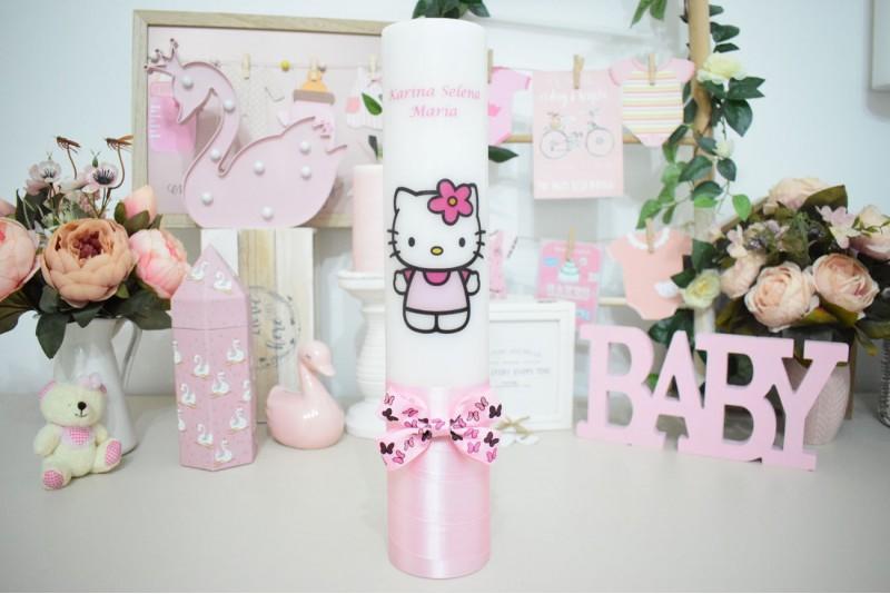 Lumanare de botez cu Hello Kitty