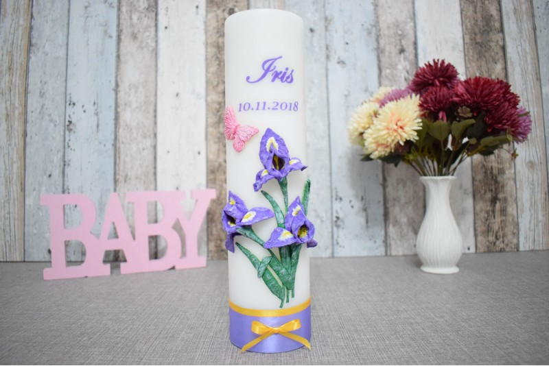 Lumanare de botez cu iris in relief