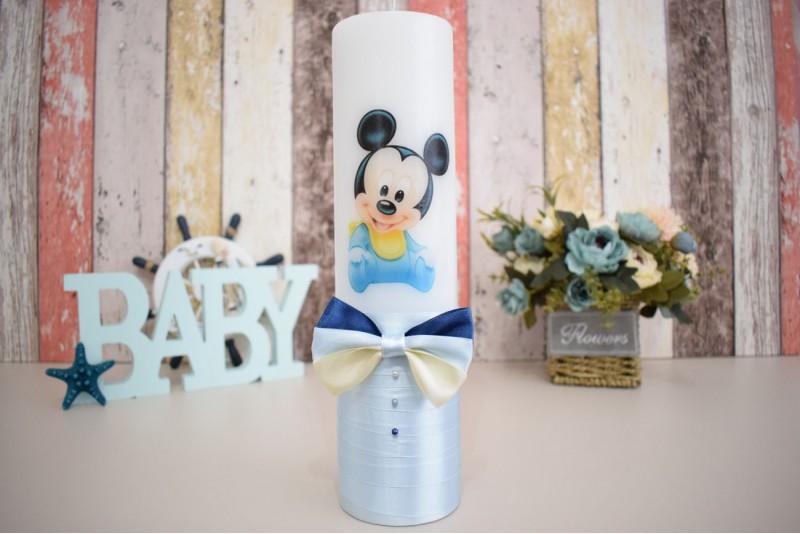 Lumanare de botez cu bebe Mickey Mouse