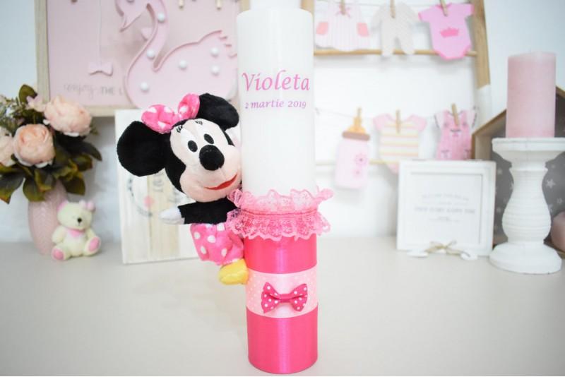 Lumanare botez cu plus Minnie Mouse