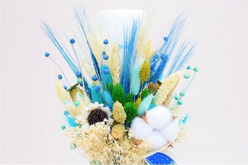 Lumanare Botez Baiat Personalizata Decorata cu Flori