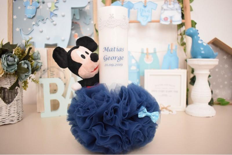 Lumanare Botez cu Plus Mickey Mouse si Pom Pom