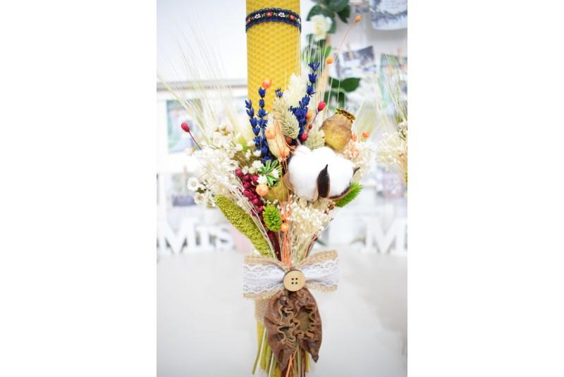 Lumanari nunta Ceara Naturala cu Buchet de Flori Rustic