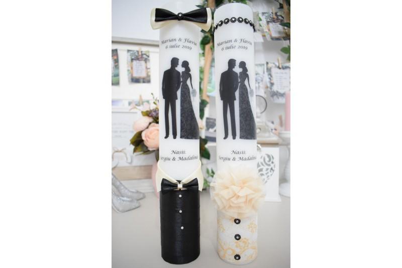 Lumanari pentru nunta cu mire si mireasa eleganti