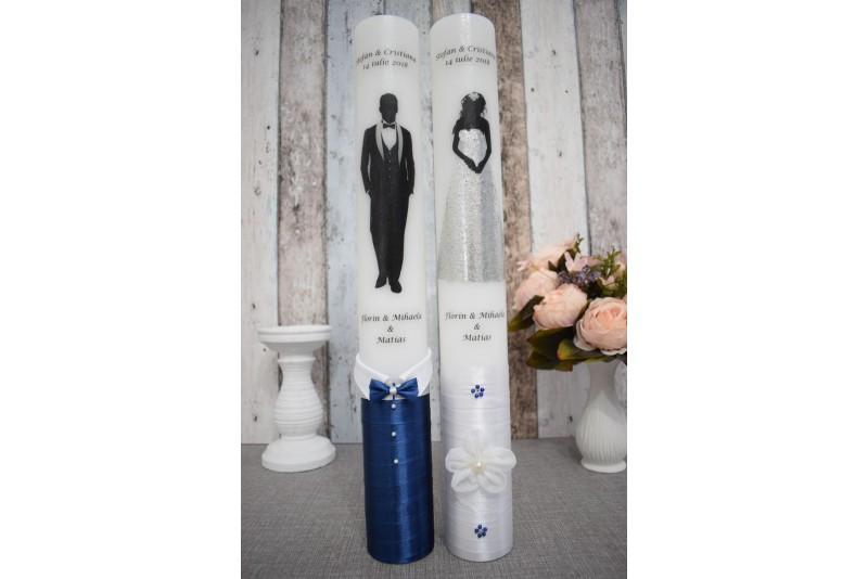 Lumanari de nunta cu mire si mireasa cu decor bleumarin