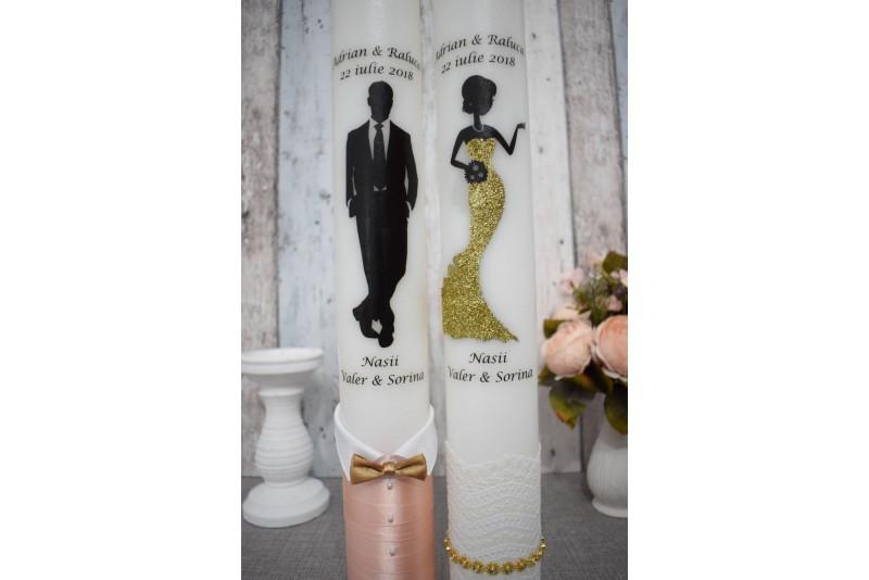 Lumanari de nunta cu mire si mireasa chic cu auriu