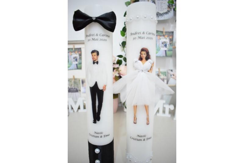 Lumanari nunta personalizate cu Mire si Mireasa