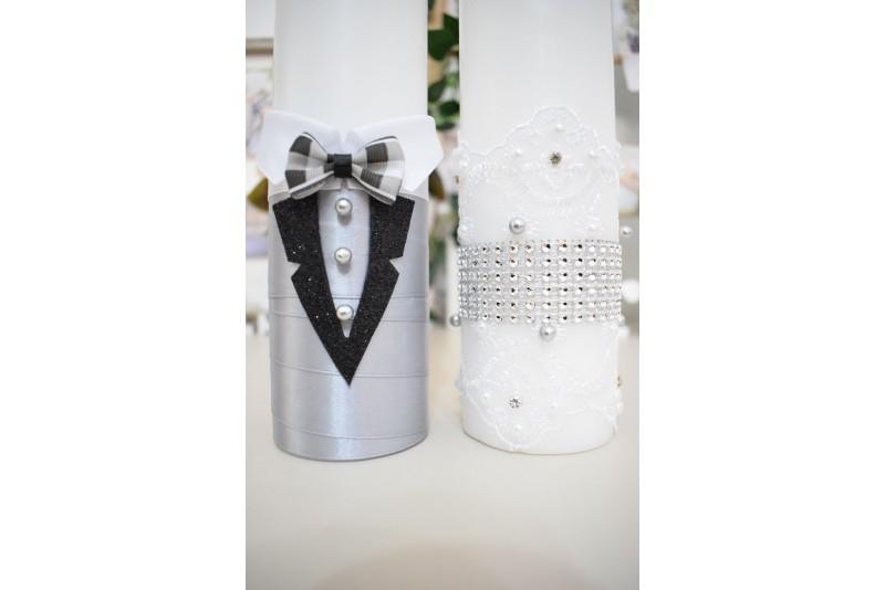 Lumanari nunta cu Mire si Mireasa cu Decor Argintiu
