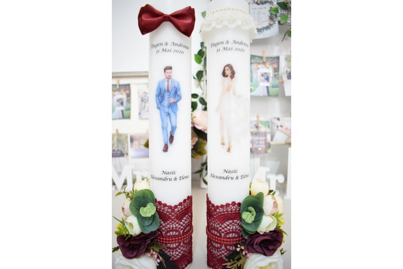 Lumanari nunta cu Mire si Mireasa cu Flori Grena
