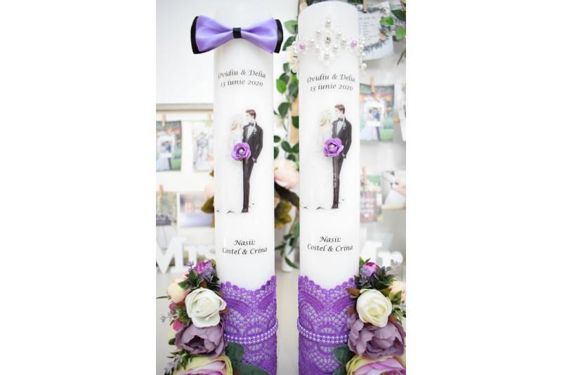 Lumanari nunta cu Mire si Mireasa cu Flori Purple