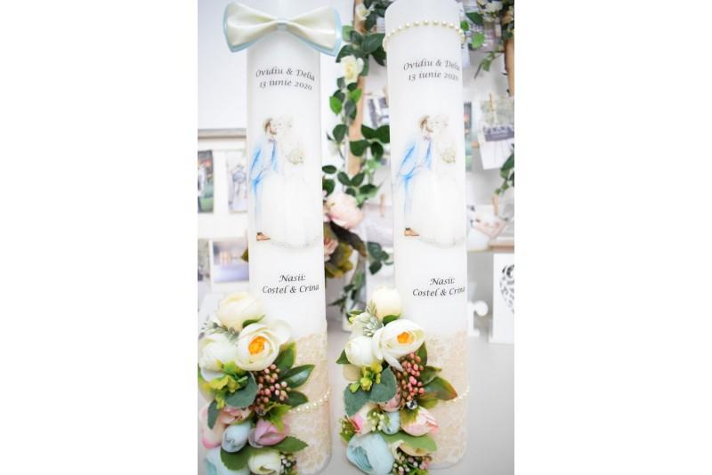 Lumanari nunta cu Mire si Mireasa Decorate cu Flori