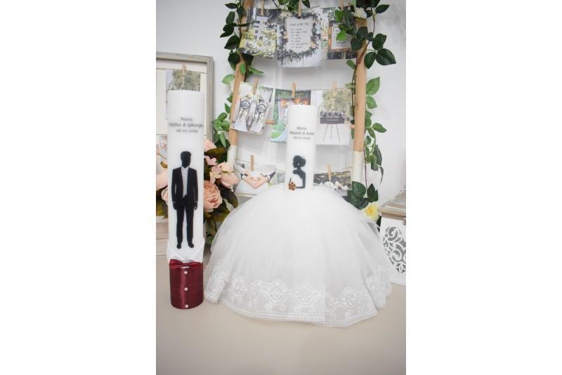 Lumanari nunta cu mire si mireasa cu rochita si buchet grena