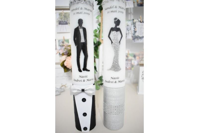 Lumanari nunta cu mire si mireasa silver