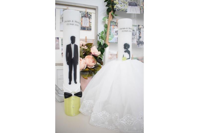 Lumanari nunta cu mire si mireasa cu rochita