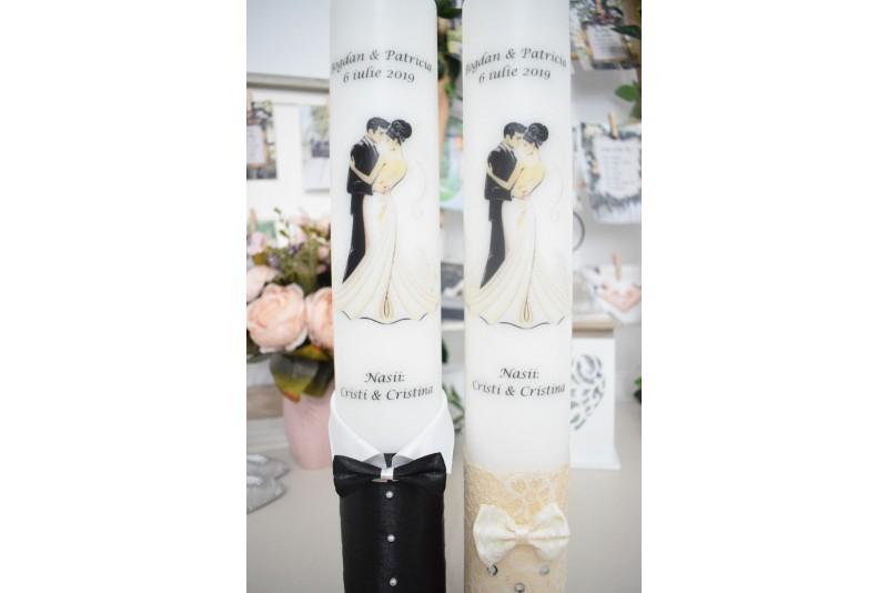 Lumanari nunta personalizate cu mire si mireasa ivory