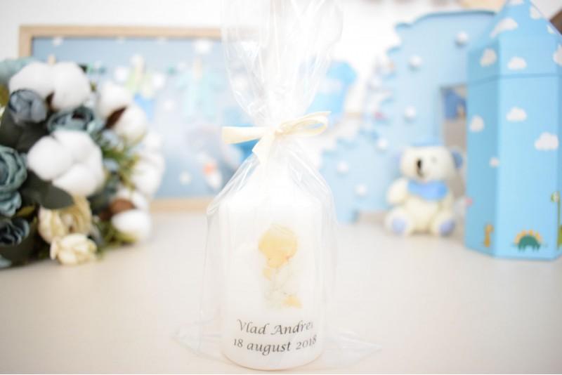 Marturie botez lumanare cilindru mic personalizat