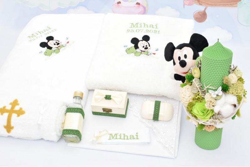 Trusou Botez Bebe Mickey cu Lumanare si Plus